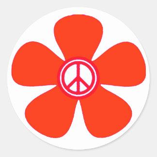 Flower Power Peace Sign Round Sticker