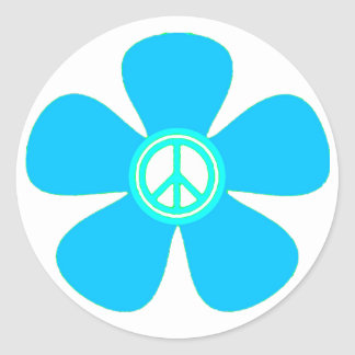 Flower Power Peace Sign Round Stickers