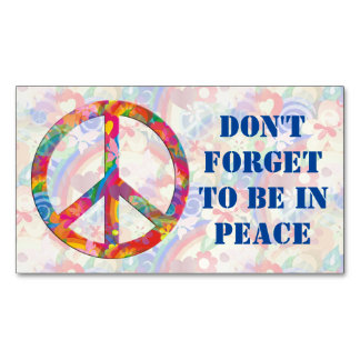 Flower Power Peace sign + your backgr. & ideas Business Card Magnet