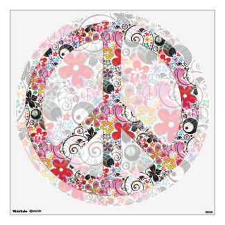 flower power PEACE symbol II Wall Decal