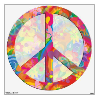 flower power PEACE symbol IV Wall Decal