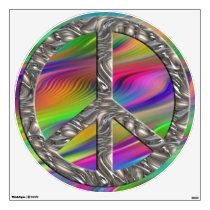 flower power PEACE symbol VI Wall Decal