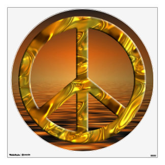 flower power PEACE symbol VII gold sunrise Wall Decals