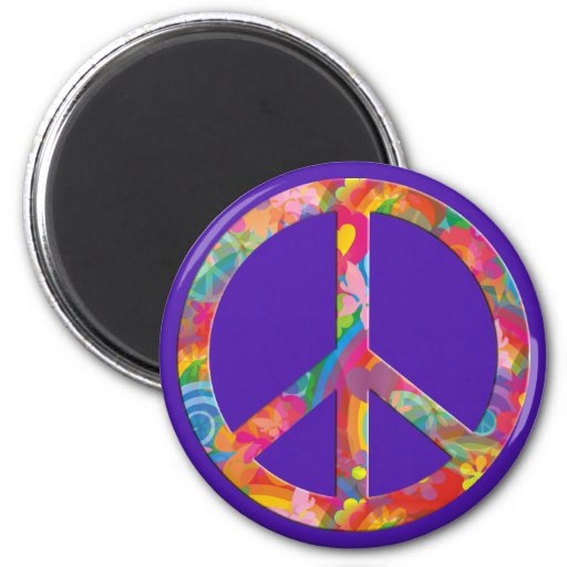 Flower Power Peace | violet 2 Inch Round Magnet