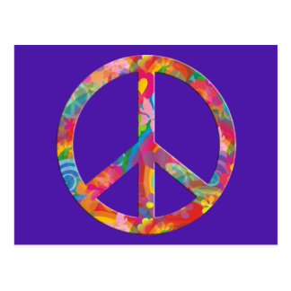 Flower Power Peace | violet Postcard