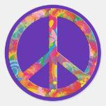 Flower Power Peace | violet Round Sticker