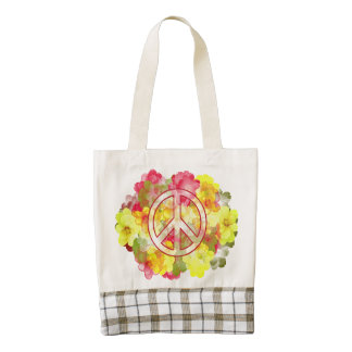 Flower Power Peace Zazzle HEART Tote Bag