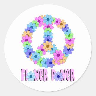 Flower power pegatinas redondas