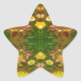 Flower power pegatina en forma de estrella