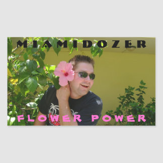 Flower power pegatina rectangular