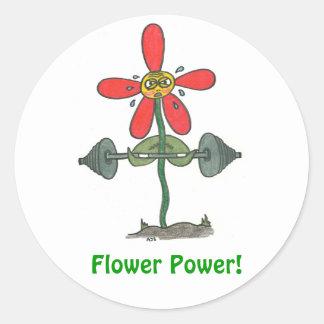 ¡Flower power! Pegatina Redonda