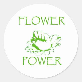 """Flower power "" Pegatina Redonda"