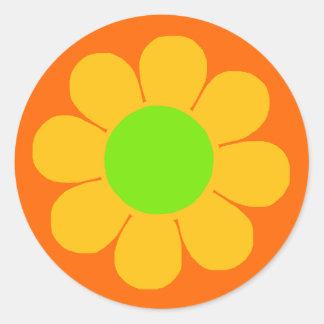 Flower power pegatina redonda