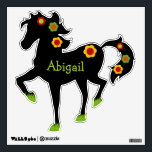 """Flower Power Personalized Black Horse Wall Decal<br><div class=""""desc"""">This flower power black horse wall decal can be personalized with a little girl or special pony&#39;s name.</div>"""