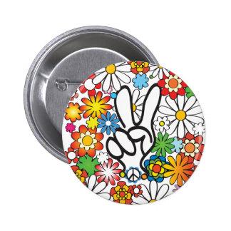 Flower Power Pin Redondo De 2 Pulgadas