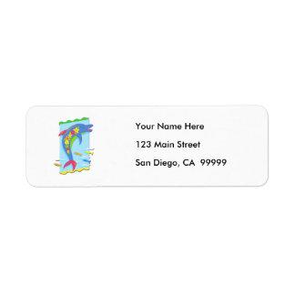 Flower Power Porpoise Return Address Label
