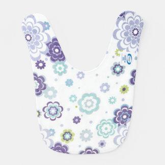Flower power púrpura babero de bebé