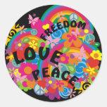Flower Power Rainbow   black Classic Round Sticker