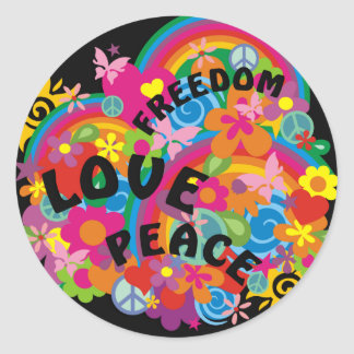 Flower Power Rainbow | black Classic Round Sticker