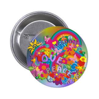 Flower Power Rainbow Button