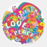 Flower Power Rainbow Classic Round Sticker
