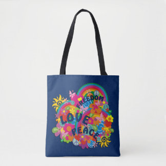 Flower Power Rainbow FREEDOM LOVE PEACE Tote Bag