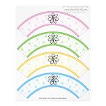 Flower Power Rainbow Number or Initial Cake Cosies Letterhead