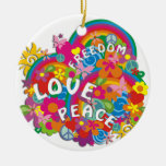 Flower Power Rainbow Double-Sided Ceramic Round Christmas Ornament