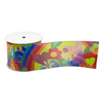 Flower Power RAINBOW Pattern   your ideas Satin Ribbon