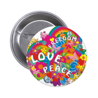 Flower Power Rainbow Pinback Button