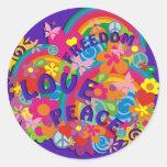 Flower Power Rainbow | violet Classic Round Sticker