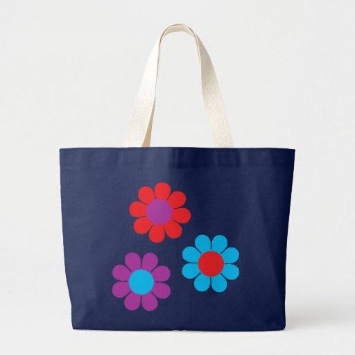 Flower power retro bolsa de tela grande