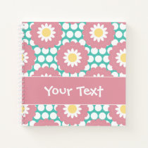Flower Power Retro Daisy Pattern Notebook