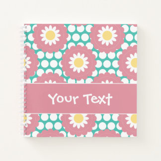 Flower Power Retro Daisy Pattern Notebook