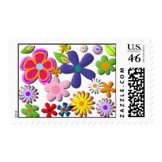 Flower Power Retro Floral Vector Stamp