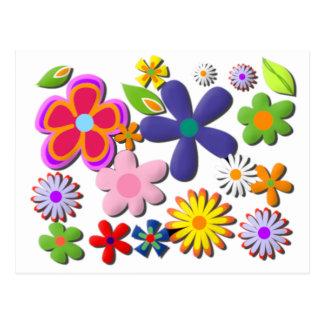 Flower Power Retro Floral Vector Postcard