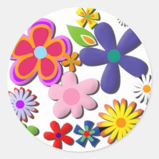 Flower Power Retro Floral Vector Round Sticker