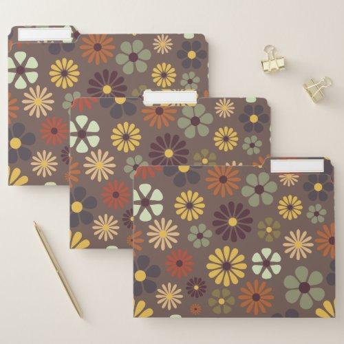 Flower Power Retro Hippy Flowers File Folder