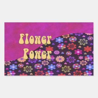 Flower power retro maravilloso 60s 70s pegatina rectangular