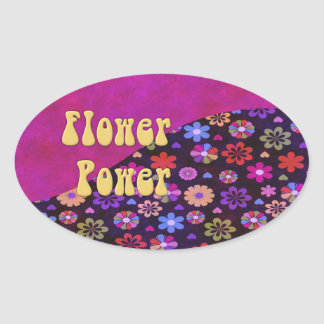 Flower power retro maravilloso 60s 70s pegatina ovalada