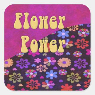 Flower power retro maravilloso 60s 70s pegatina cuadrada