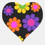 Flower power retro maravilloso pegatina de corazón personalizadas