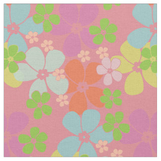 Flower Power Retro Pastels on Pink Fabric