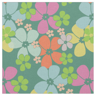 Flower Power Retro Pastels on Teal Fabric
