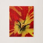 Flower power rojo rompecabezas con fotos