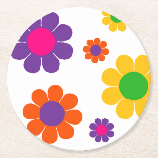 Flower Power Round Paper Coaster