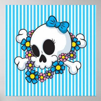 Flower Power Skull Poster