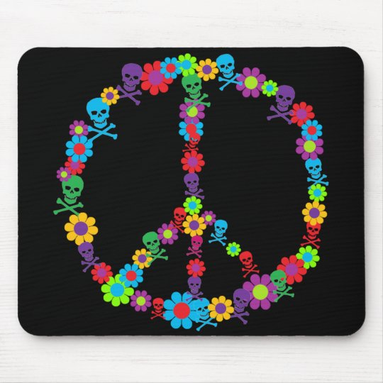 Flower Power Skully Peace Mouse Pad