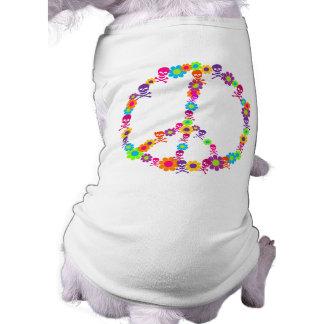 Flower Power Skully Peace Pet T Shirt