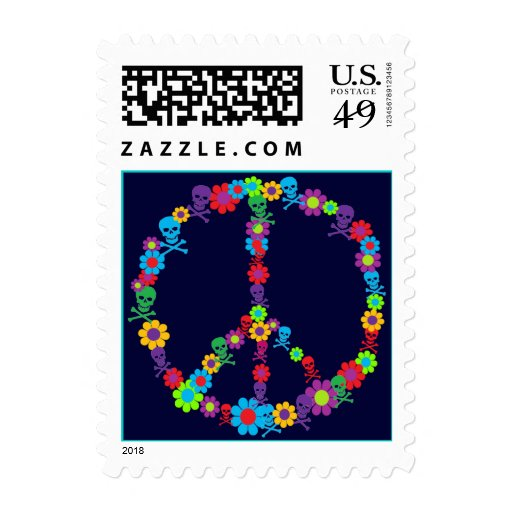 Flower Power Skully Peace Postage